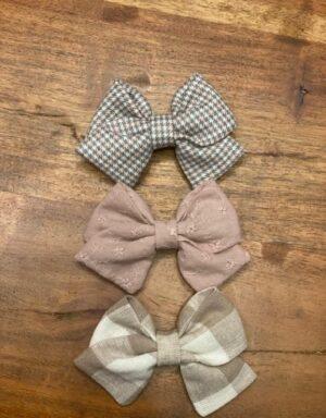 Set van 3 haarclips beige roze grijs